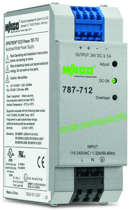 WAGO 787-712 24VDC POWER SUPPLY 2.5A OUTPUT