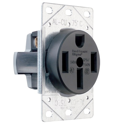 3P 125//250V 50A P /& S 385 Straight Blade Range Receptacle 3-Wire