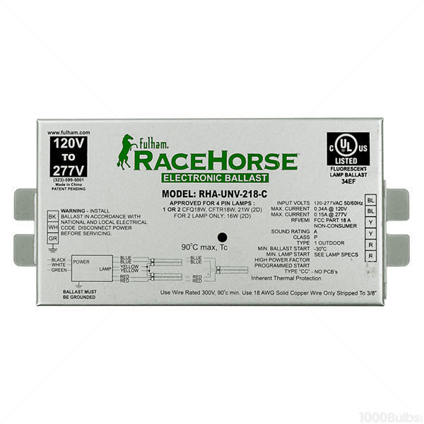 FHM RHA-UNV-218-C RaceHorse A - CFL Ballast - Universal Voltage - (PS) - for 1 or 2 x 18W CFL's -