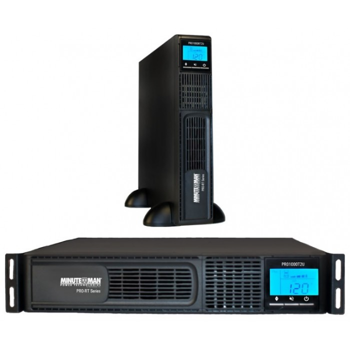 MINUTEMAN PRO1500RT2U 1500VA/1050W 120 VAC line-interactive UPS with 8 battery backup/surge outlets, USB communication port, SentryHD power management software and diagnostic software, and fax/modem/network line surge protection.