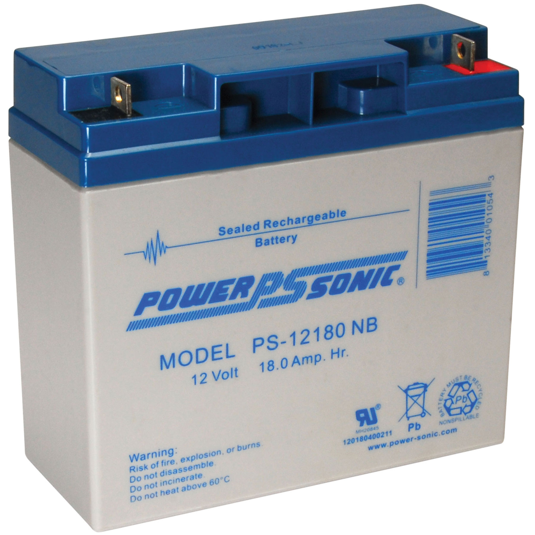 PSG PS-12180NB2 12V 18AH SEALED RECHARGEABLE BATTERY, NUT AND BOLT