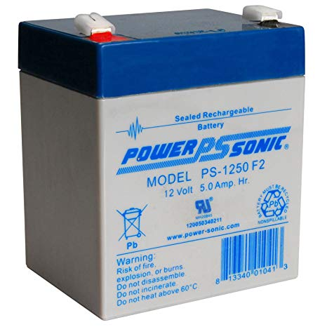 PSG PS-1250F2 12V 5AH SEALED RECHARGEABLE BATTERY, F2 TERMINALS