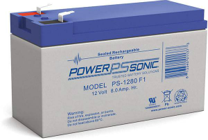 PSG PS-1280F2 12V 8AH SEALED RECHARGEABLE BATTERY, F2 TERMINALS